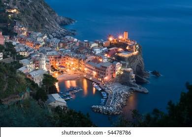 Vernazza at night, Cinque Terre, Itlay