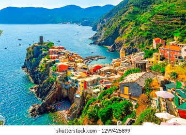 Vernazza is a small town and comune located in the province of La Spezia, Liguria. One of the five towns that make up the Cinque Terre region. Fishing villages on the Italian Riviera.