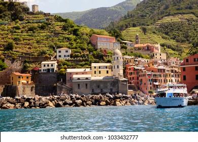 Vernazza ( SP ), Italy - April 15, 2017: Vernazza village view from a boat, gulf of Poets, Cinque Terre, La Spezia, Liguria, Italy