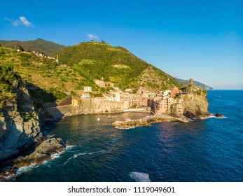 Vernazza - Village of Cinque Terre National Park at Coast of Italy. Province of La Spezia, Liguria, in the north of Italy - Aerial View - Travel destination and attractions in Europe.