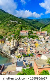 Vernazza Village at Cinque Terre National Park - View from castle to beautiful coast and village of Luguria, Italy