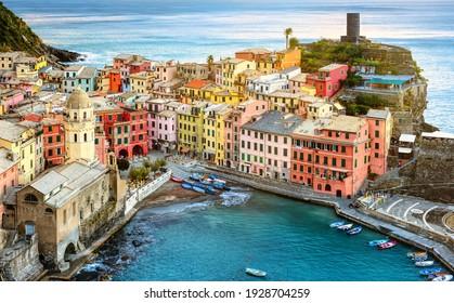 Vernazza village on a rock in Mediterranean sea, Cinque Terre, Liguria coast, Italy - Shutterstock ID 1928704259