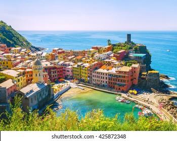 Vernazza village, one of famous tourist destinations; Cinque Terre, Italy