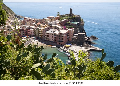 Vernazza village, part of the Cinque Terre villages on the Italian riviera, seen from the hiking path between Vernazza and Monterosso.