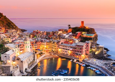 Vernazza village at sunset. Cinque Terre National Park, Liguria Italy.