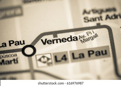 Verneda Station. Barcelona Metro map.