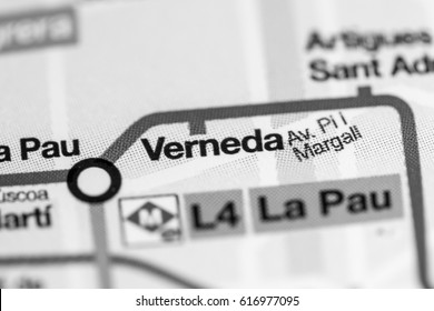 Verneda Station. Barcelona Metro map.