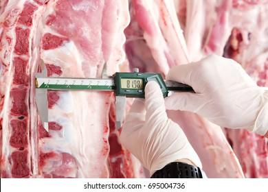Vernier caliper and Pork carcass