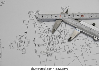 Vernier caliper, ruler and Technical drawing.