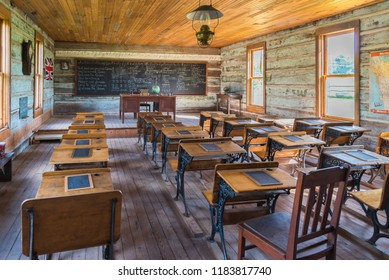 Vernon, British Columbia/Canada - June 2, 2018: inside the schoolroom at Balmoral School, one of the restored buildings at the O'Keefe Ranch historic site.