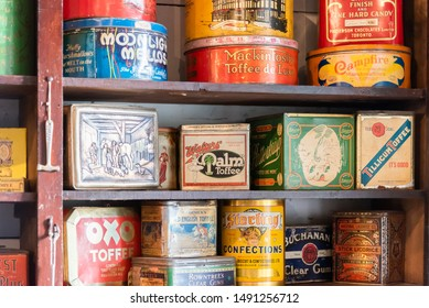 Vernon, British Columbia/Canada - October 23, 2016: close-up of tins of vintage dry goods on shelves in the general store at O'Keefe Ranch, a popular tourist attraction