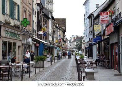 VERNON, FRANCE - AUG 5:  A streetscape in Vernon, France, is shown here on August 5, 2016. This historic town is on the banks of the river Seine.