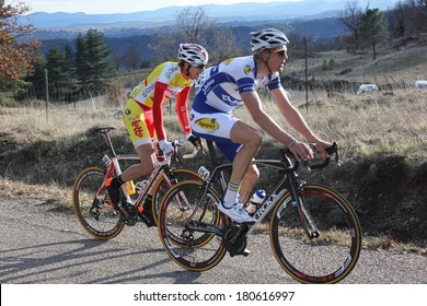 VERNON, FRANCE - MAR 01: Jarl Salomein and Laurent Evrard riding La Classic Sud Ardeche UCI Europe Tour Pro Race on March 01, 2014 in Versas Hill, Ardeche, France. Florian Vachon won the race.