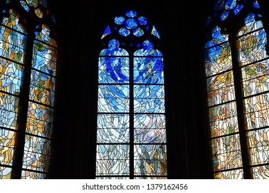 Vernon, France - march 25 2017 : the collegiate church stained glass window