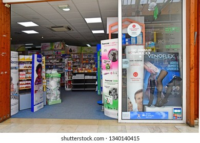 Vernouillet; France - july 2 2018 : pharmacy in the shopping centre