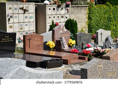 Vernouillet; France - may 8 2020 : the cemetery in the village centre