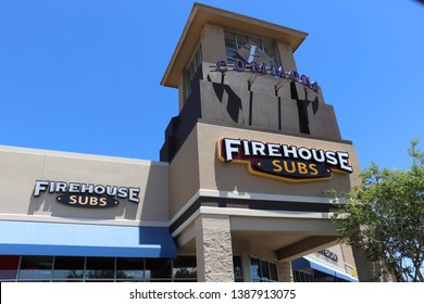 Vero Beach, Florida / USA - 04/30/2019 : Firehouse subs store front, sign, and entrance from exterior at Indian River Commons Shopping Center.