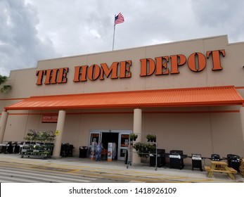 Vero Beach, FL/USA-6/7/19: The Home Depot Inc. or Home Depot is an American home improvement supplies retailing company that sells tools, construction products, and services headquartered in Atlanta.