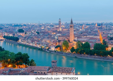 Verona. Aerial view of the sunset.