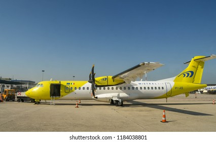 VERONA AIRPORT, ITALY - SEPTEMBER 2018:  ATR72 turboprop airliner operated by Danish company Mistral Air at Verona airport.