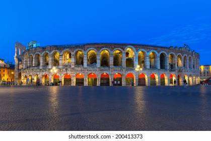 Verona amphitheater, the third largest in the world at night. Roman Arena in Verona, Italy