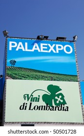 VERONA - APRIL 08: Close-up of Lombardy regional wines area entrance at Vinitaly, international wine and spirits exhibition April 08, 2010 in Verona, Italy.