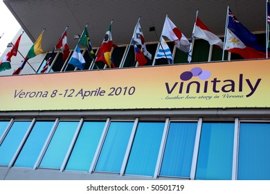 VERONA - APRIL 08: Close-up on the entrance of Vinitaly, international wine and spirits exhibition April 08, 2010 in Verona, Italy.