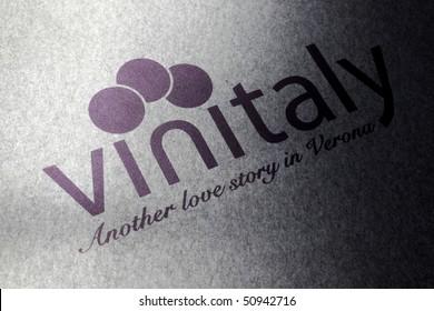 VERONA - APRIL 08: Exhibition logo symbol on the pave at Vinitaly, international wine and spirits exhibition April 08, 2010 in Verona, Italy.