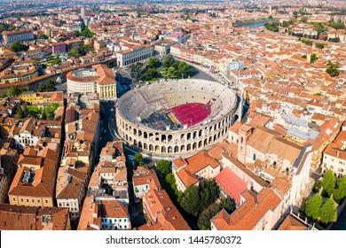 Verona Arena aerial panoramic view. Arena is a Roman amphitheatre in Piazza Bra square in Verona, Italy