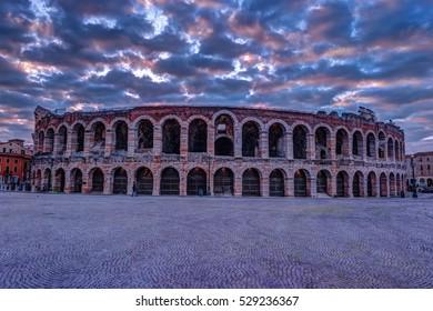 Verona Arena at dawn in Verona, Italy