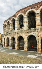The Verona Arena (Arena di Verona, was built in 1 AD) - Roman amphitheatre at Piazza Bra. Verona Arena is the third largest amphitheatre in Italy. Verona, Italy.