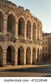 The Verona Arena (Arena di Verona) is a Roman amphitheatre in Piazza Bra. Italy.