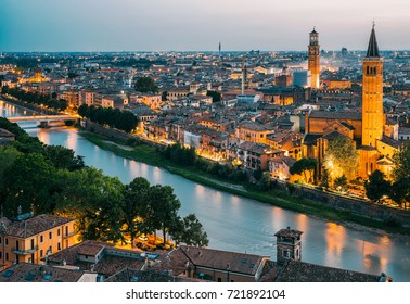Verona. Beautiful sunset aerial view of Verona, Italy during summer sunset
