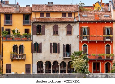 Verona. Facades of old houses.
