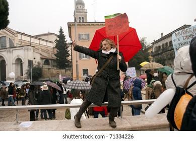 VERONA - FEBRUARY 13: demonstration. if not now when against Silvio Berlusconi government February 13, 2011 In Verona, Veneto, Italy