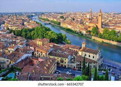Verona. Image of Verona, Italy during summer sunrise. The famous tourist sight. Main observation deck.
