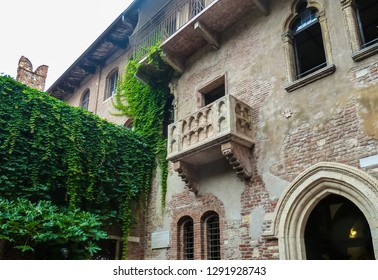 Verona - Italy - 05-05-2018: The balcony of Juliet's house, from a work by Shakespeare.