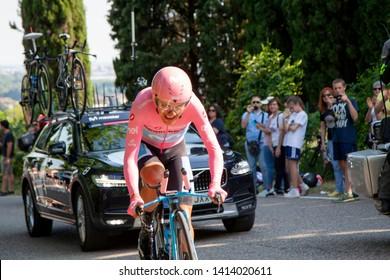 Verona, Italy. 06-02-2019:  Giro d'Italia last stage. Richard Carapaz, Ecuador. Winner. 1st place