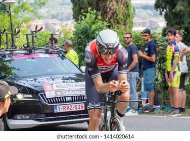 Verona, Italy. 06-02-2019:  Giro d'Italia last stage. Mollema bauker.