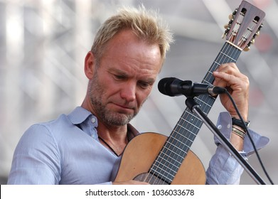 "Verona Italy 09/20/2003, Arena : Sting during the soundcheck before the concert of the musical event ""Festivalbar 2003""."