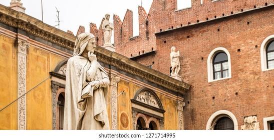 Verona / Italy - 12 24 2018: Statue of Dante