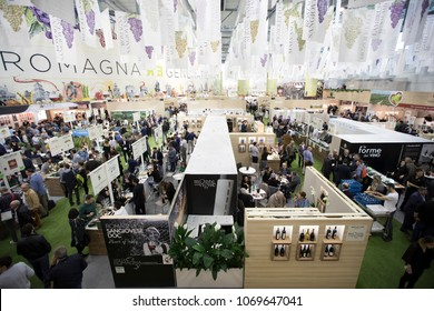 VERONA - ITALY . 16th April 2018.   Vinitaly, the most important event about italian wine, top view wide angle  of Emilia-Romagna stand.