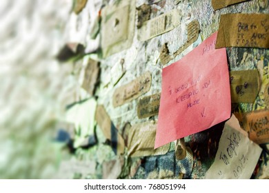 VERONA, ITALY - 17 SEPTEMBER 2017:  Letters and love notes declaration on the wall in the passage to Juliet's house in Verona city, Italy. Travel to Europe. Selective focus.