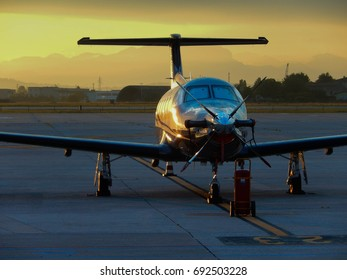 Verona, Italy - 20 May 2017: Private  turboprop plane, Pilatus PC-12--47E with registration M-AMAN, on the airport apron at sunset awaiting its passengers