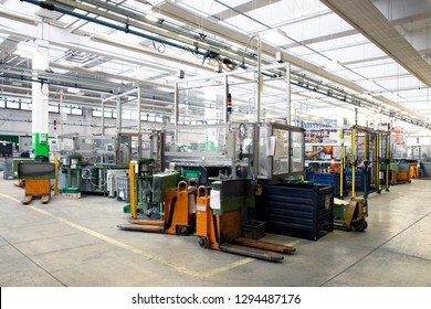 Verona, Italy, 27/05/2018 - Industrial automation: automatic lines and robotic in italian plant.