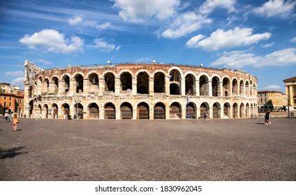 Verona, Italy - 4 Jul, 2020: Arena of Verona. Historic medieval building in the city of Verona