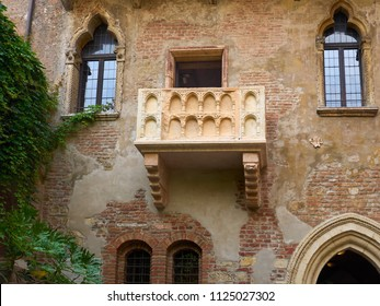 Verona, Italy - 6/8/2018: from below of Juliet's Balcony, Verona, Italy on the Casa di Giulietta, now a museum and said to have inspired Shakespeare when writing Romeo and Juliet