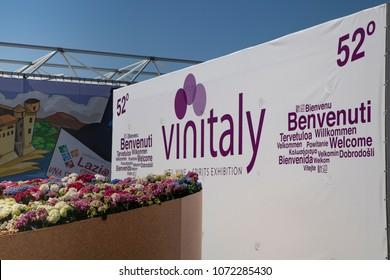 Verona, Italy - Apr. 15-18 2018: 52° VINITALY, INTERNATIONAL WINE & SPIRITS EXHIBITION.