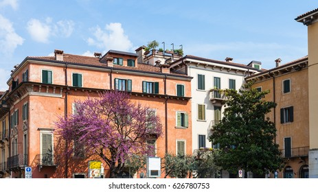VERONA, ITALY - APRIL 2, 2017 - spring cityscape in Verona city. Verona is city on the Adige river, one of the seven provincial capitals of Veneto region