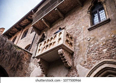 VERONA, ITALY - April 2018: Juliet's house in Verona town, Juliet balcony, view from the house yard, Italy